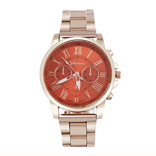 Han Shi Sports Wristwatch, Fashion Geneva Roman Number Stainless Steel Analog Quartz Dial Watch (A, Orange)