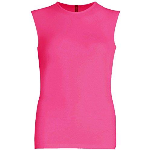 Esteez Womens Sleeveless Fitted Base Layering T-Shirt Fuchsia Medium