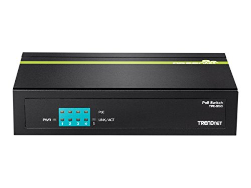 TRENDnet 5-Port Unmanaged 10/100 Mbps PoE Switch with 4 PoE Ethernet Ports, 802.3af, 31W Power Budget, 1Gbps Switching Capacity, Plug & Play, TPE-S50