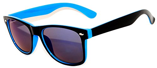 Two Tone - Black & Blue Retro Vintage Blue Mirror Lens Sunglasses