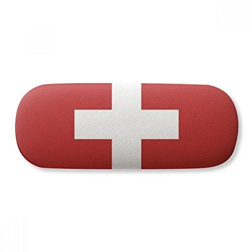 Switzerland National Flag Europe Country Glasses Case Eyeglasses Clam Shell Holder Storage Box