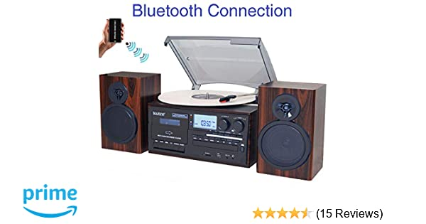 Boytone BT-28MB, Bluetooth Classic Style Record Player Turntable with AM/FM Radio, CD / Cassette Player, 2 Separate Stereo Speakers, Record from ...