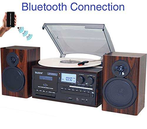 Boytone BT-28MB, Bluetooth Classic Style Record Player Turntable with AM/FM Radio, CD / Cassette Player, 2 Separate Stereo Speakers, Record from Vinyl, Radio, and Cassette to MP3, SD Slot, USB, AUX (Tape Bluetooth Player)