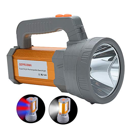 Super Bright Rechargeable LED Handheld Spotlight Flashlight High Lumens Powered CREE Searchlight Large Battery 10000 mah Long Lasting Torch, Side Floodlight Lantern Work Light USB Charges -