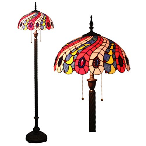 WFTD Tiffany Floor Lamp,16 Inch Floor Light Handmade Multicolored Glass Shade 63 Inches High Pull Switch Standing Lamp Zinc Alloy Base Peacock Feather Pattern