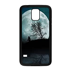Samsung Galaxy S5 Cell Phone Case Black Girl Moon Night Water I7P9QA