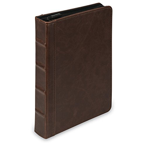 """Vintage Mini Hardback Book Style Round Ring Binder/Organizer / Planner, 1 Inch, Dark Brown, Zipper, Jr. Size (5.5 x 8.5"""" Sheet Size)"""