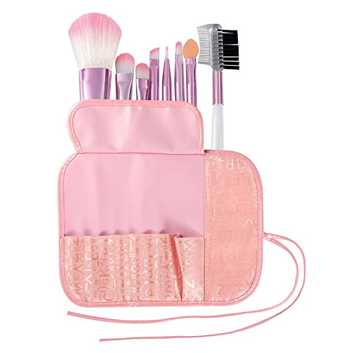 Zodaca 8-Piece Set Essential Cosmetic Makeup Brushes with Pouch Bag, Pink