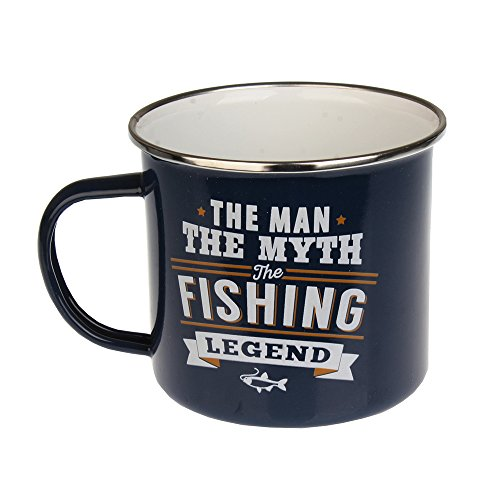 H & H Top Guy Mug Fishing, Large Camping Coffee Mug, Enamel, 14 oz, Multi-Colored, Light-weight, Retro Inspired for Men and Women