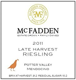 2011 McFadden Late Harvest Riesling Mendocino County 375 mL
