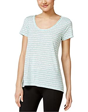 Calvin Klein Womens Melrose-Striped Cutout Back Top