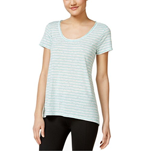 Calvin Klein Performance Striped Cutout-Back T-Shirt Green Medium