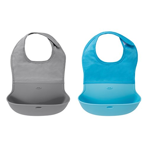 OXO Tot Waterproof Silicone Roll Up Bib with Comfort-Fit Fabric Neck, 2 Pack, Gray/Aqua