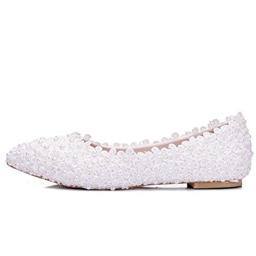 ecf9defece Bueno wreapped GAIHU Boda Zapatos de novia para las mujeres blancas en Slip  Lace bombas Perla