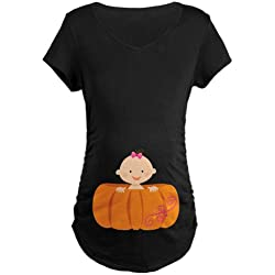 CafePress - Halloween Pumpkin Baby Pregnancy T-Shirt - Cotton Maternity T-shirt, Cute & Funny Pregnancy Tee