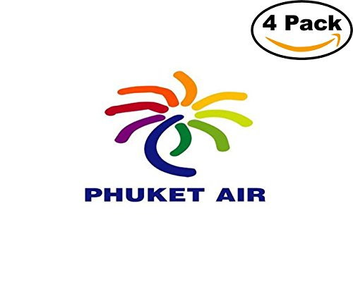 Airlines Phuket Air Airlines Logo 4 Stickers 4X4 Inches Car Bumper Window Sticker Decal (Phuket Air)