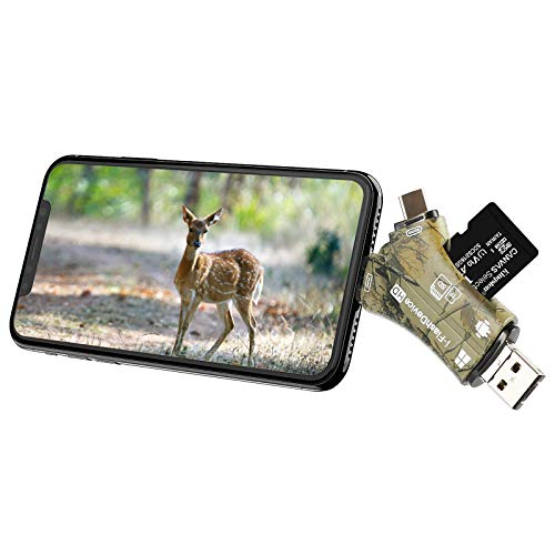 Liplasting Trail Camera Viewer SD Card Reader for iPhone iPad Mac & Android, 4 in 1 SD/Micro SD/TF Memory Card Reader…