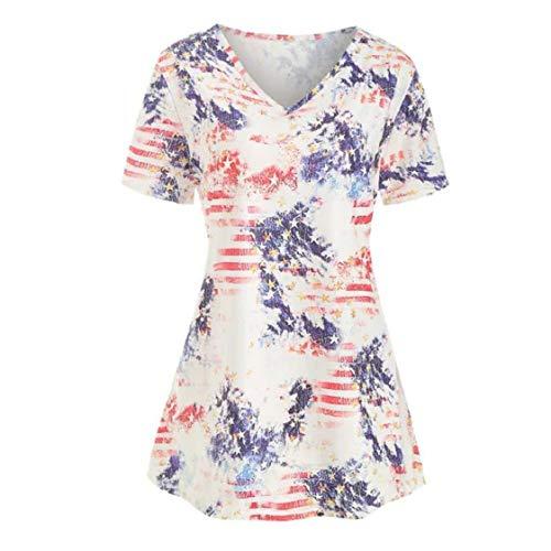 MISYAA American Flag Print Tunic Tops for Women Short Sleeve Gradient Summer Shirt July 4th Theme Tees V-Neck Blouses XL-5XL White