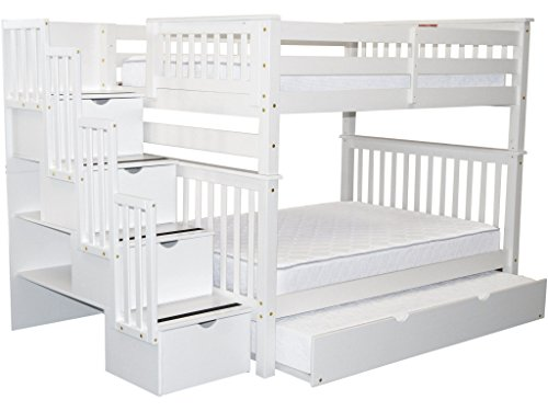 Bedz King Stairway Bunk Beds Full over Full with 4 Drawers in the Steps and a Twin Trundle, White
