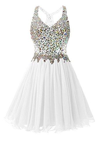 kleider Kleid White Abendkleid Partei Cocktail CoCogirls Chiffon A Beadings Linie Heimkehr Kurz Rückenfrei Kleid Ballkleid 466Zxg1qwO