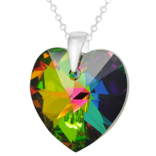 Made with Swarovski Crystals Green Blue Pink Yellow Sterling Silver Love Heart Pendant Necklace, 18