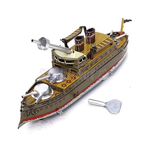 Shalleen Vintage Wind Up Battleship Ship Tin Toy Clockwork Collectible Gift Reproduction (Dead Drum Player)