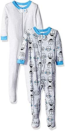 Gerber Baby-Boys 2-Pack Footed Unionsuit Infant-and-Toddler-Nightgowns - Gray - 0-6 Months