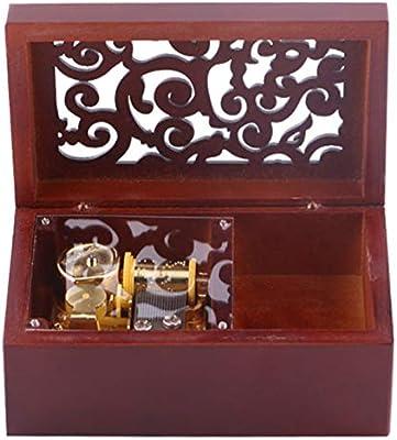 Shumo Vintage Pino Hueco 18 Notas Caja Musical de Cuerda Joyas de Artesanía Caja de Música Tipo de Reloj Caja de Música de Manivela, Oro + Rojo de Vino To Alice: Amazon.es: