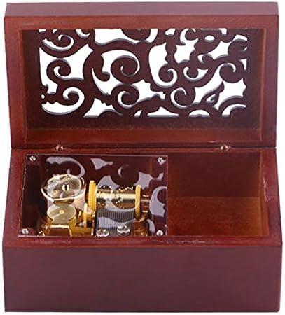 Shumo Vintage Pino Hueco 18 Notas Caja Musical de Cuerda Joyas de Artesanía Caja de Música Tipo de Reloj Caja de Música de Manivela, Oro + Rojo de Vino Edelweiss: Amazon.es: Hogar
