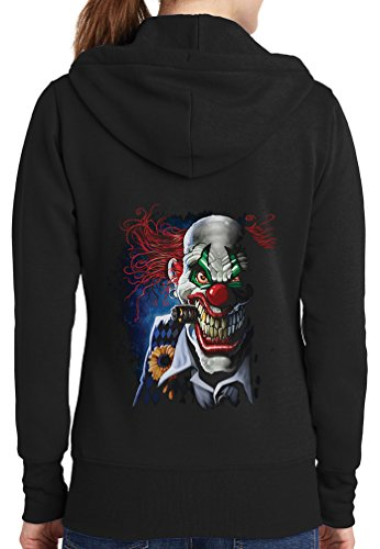 Womens Joker Clown Full Zip Hoodie, Black, 2X