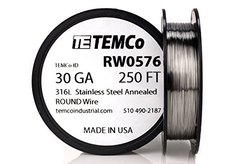 TEMCo Stainless Steel Wire SS 316L - 30 Gauge 250 FT Non-Resistance AWG ga