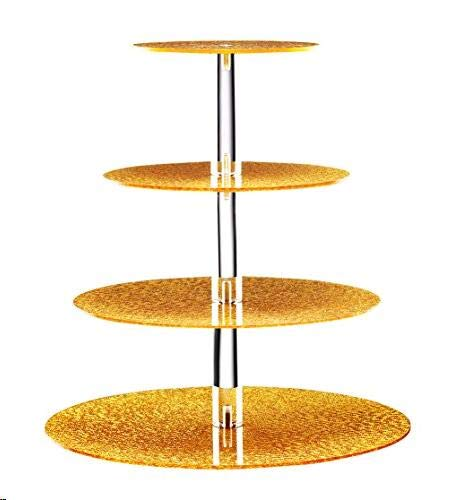 BonNoces Acrylic Cupcake Stand - 4 Tiers Round Cupcake Tower - Tiered Serving Dessert Cake Holder - Unique Golden Exquisite Patterns - Perfect for Wedding, Birthday, Party, Baby Shower and Christmas]()