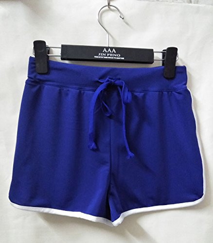 Hot Donna Traspirante Estivo Da Fitness Oufour Jogging Sudore Corto Con Pants Pantaloncini Del Assorbimento Casual Blu Yoga Pantaloni Patchwork Coulisse Shorts 6t6fqz4