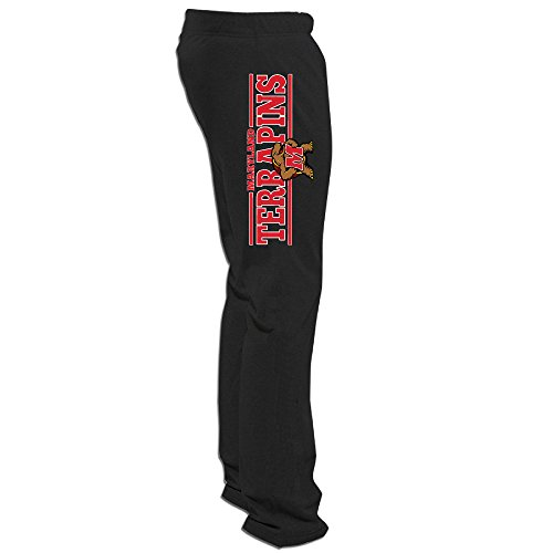 ElishaJ Men's University Of Maryland Popular Workout Sweaterpants Black L (Nc State Wolfpack Puzzle)