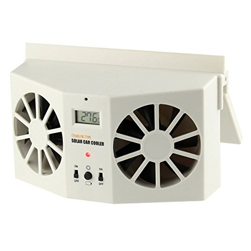 YUSONG Car Fan - Ivory Solar Powered Car Front/Rear Window Air Vent Cool Cooler Fan Summer Gift (Car Fan Solar compare prices)