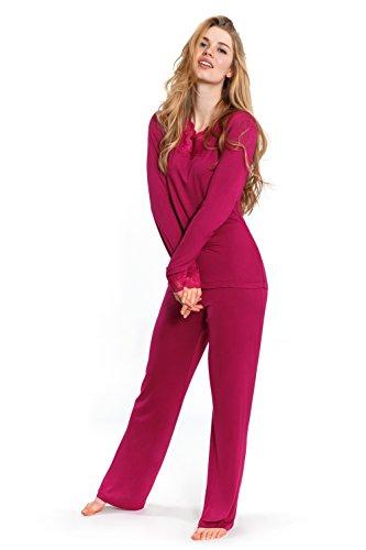 Jones New York Women's Long Sleeve & Pant Pajamas (Mulberry, Medium, Set Of 2)