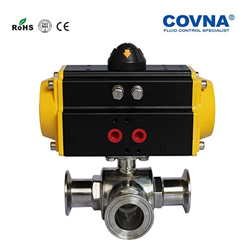 Utini Tri Clamp 1 inch Sanitary Three Ways Pneumatic Ball Valve Double Acting Stainless Steel 316L PTFE Sealing
