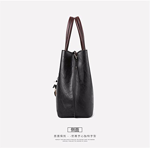 Many Soft Pockets Cross Capacity Bags Black Shoulder Women's Large Wristlet Small Clutch MSZYZ Leather with Shoulder Body Shoulder Casual PU Vintage w76HqnOqv8