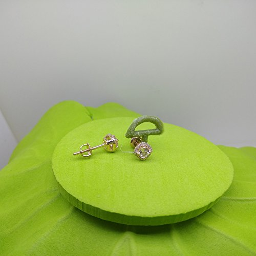 10K Rose Gold Round Cut Morganite & White Diamond Ladies Halo Style Stud Earrings by DazzlingRock Collection (Image #9)