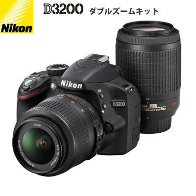 ニコン D3200 ブラック ダブルズームキット AFS DXニッコール1855mm f3.55.6G VR AFS DX VRズームニッコール55200mm f45.6G IFED