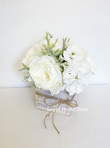 Sweet Home Deco 8'' Silk Rose Peony Hydrangea Mixed Flower Arrangement w/ Wood Vase Wedding Home Decorations (White) (Roses Peony)