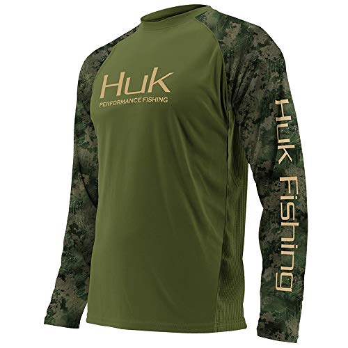 Huk Men's Double Header Vented Long Sleeve Shirt, Military Olive Drab/SubPhantis Southern Tier, X-Large ()