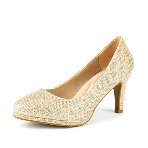 (DREAM PAIRS Women's City_CT Gold GLIT New Classic Elegant Low Kitten Heel Party Dress Pumps Shoes Size 10 B(M) US)