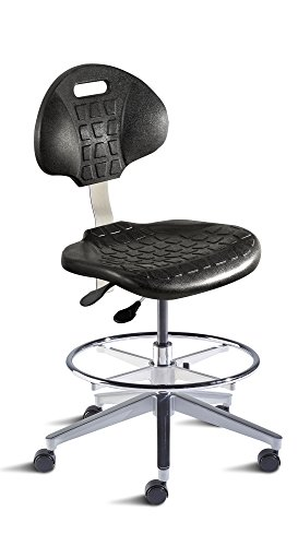 BioFit Engineered Products UUA-M-RC-C-ATF UniqueU Series Medium Bench Height Chair with Black Skinned Urethane Seat and Backrest