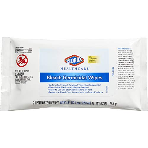 (Clorox Healthcare Bleach Germicidal Wipes, 20 Count Soft Pack (31469))