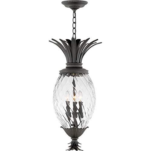 Outdoor Pendant 4 Light Fixtures with Museum Black Finish Aluminum Material Candelabra Bulb 13