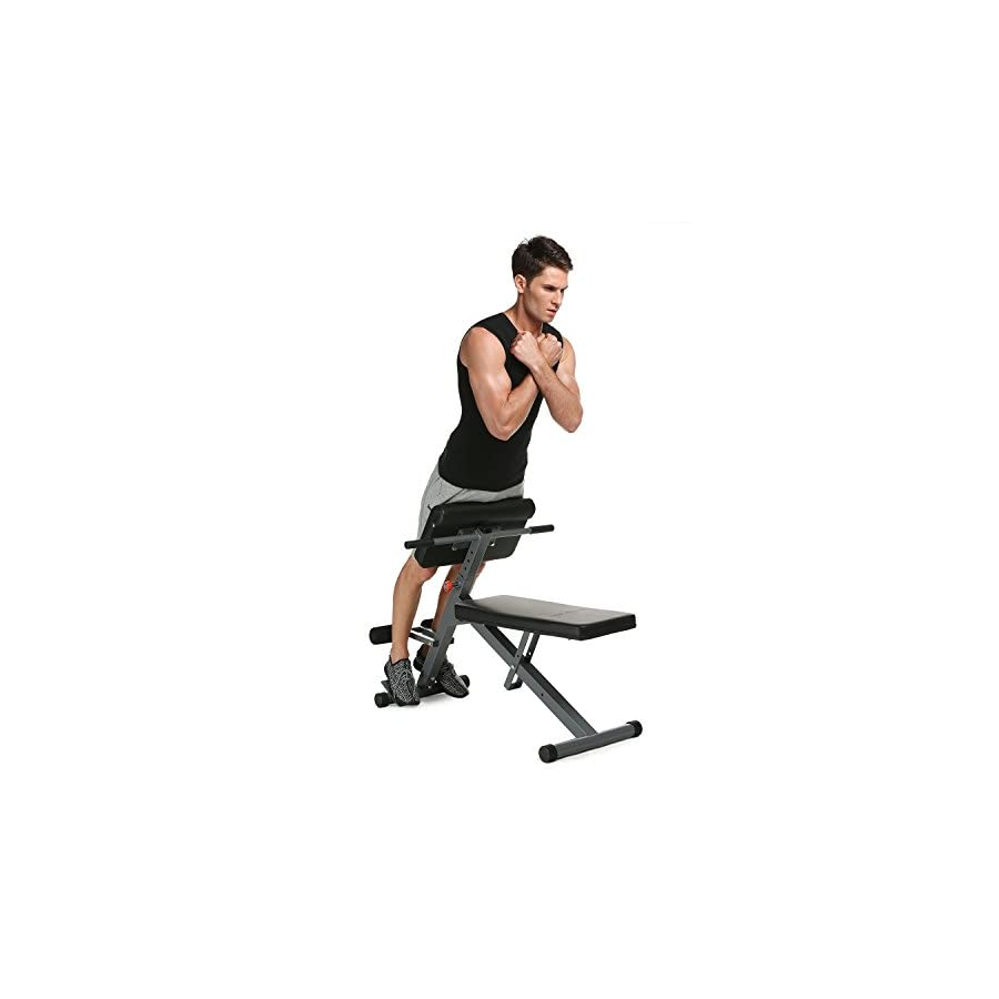 Lantusi Hyper Back Extension Bench,Adjustable Fitness Multi Workout Abdominal/Hyper Back Extension Bench Core Strength Bench(US Stock)