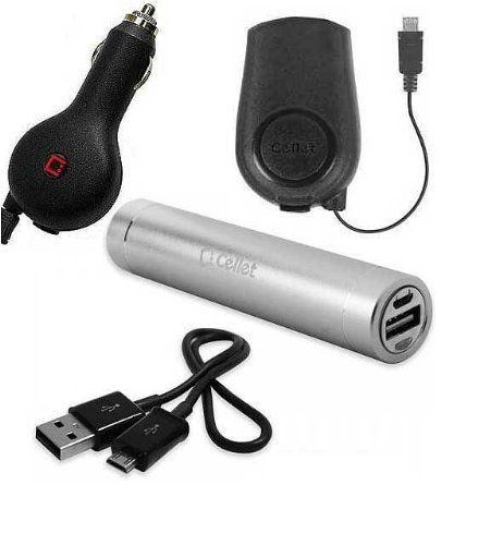 Kyocera Torque XT Power Pack With Retractable Car Charger Home Charger And External Battery With Flashlight Silver