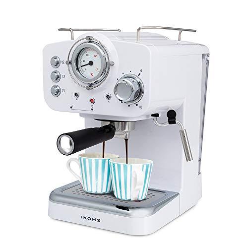 IKOHS THERA Retro – Cafetera Express para Espresso y Cappucino, 1100W, 15 Bares, Vaporizador Orientable, Capacidad 1.25l…