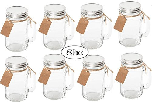 Maredash 8 Pack Mason Jars With Handle Lids with Chalkboard Labels and Tin Lids 16 OZ For Favors by Maredash